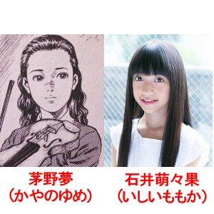 ドラマエンジェルハート茅野夢(かやのゆめちゃん)と役を演じる石井萌々果(いしいももかちゃん)の対比画像