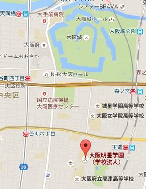 真田丸の場所、大阪城南、玉造駅・大阪明星学園(明星高校)あたり