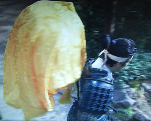 NHK大河ドラマ真田丸23話真田源次郎信繁の背中の黄色い布袋は何?2